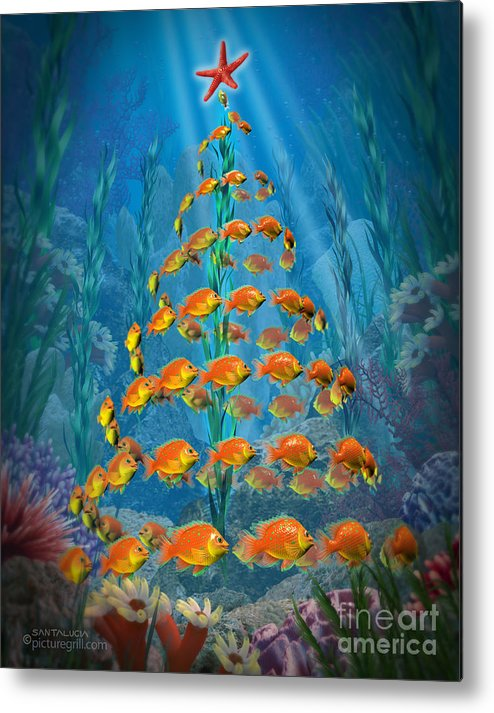 Ocean Metal Print featuring the painting Ocean Christmas by Shiny Thoughts