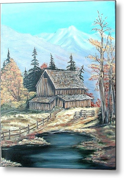Landscape Pond Wagon Old Trees Mountain Metal Print featuring the painting Old Barn Above The Pond by Kenneth LePoidevin