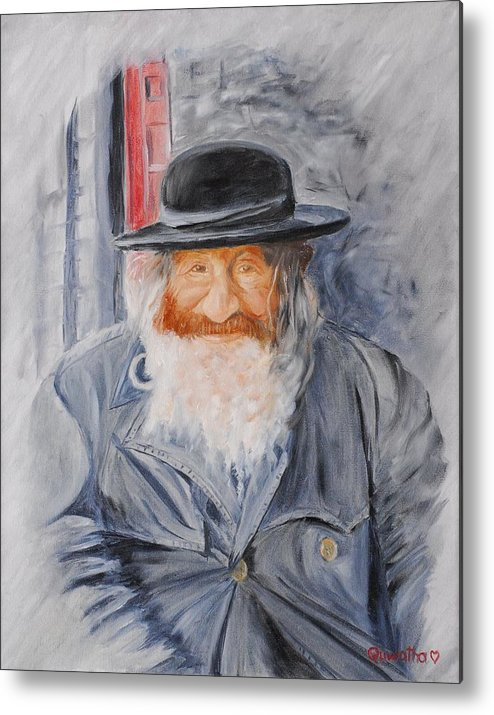 Jerusalem Metal Print featuring the painting Old Man Of Jerusalem by Quwatha Valentine