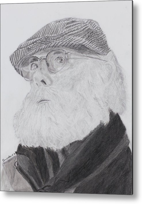 Portrait Metal Print featuring the drawing Old Man With Beard by Quwatha Valentine