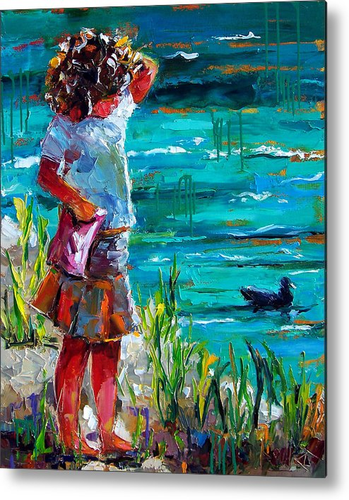 Children Metal Print featuring the painting One Lucky Duck by Debra Hurd