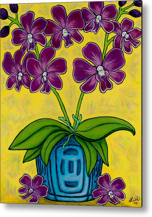 Orchids Metal Print featuring the painting Orchid Delight by Lisa Lorenz