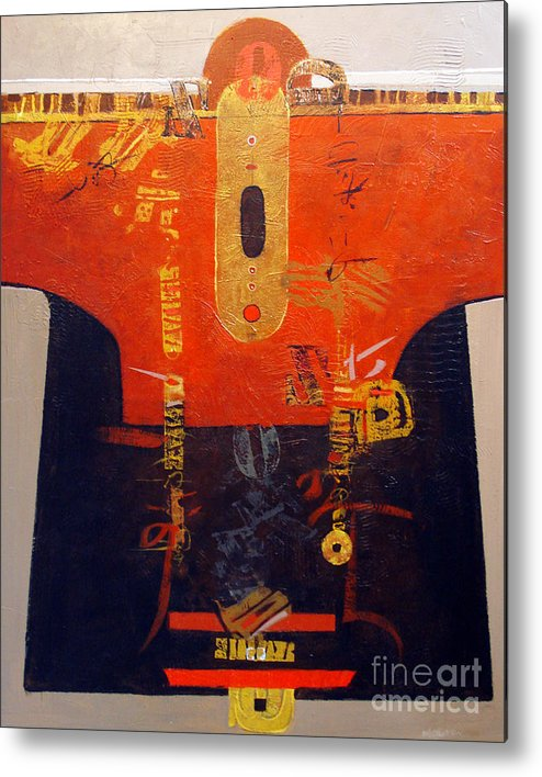 Abstract Metal Print featuring the painting Ornamental Kimono by Dale Witherow
