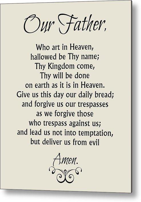 graphic regarding Printable Copy of the Lord's Prayer known as Our Dad Prayer - Catholic Lords Prayer Metallic Print