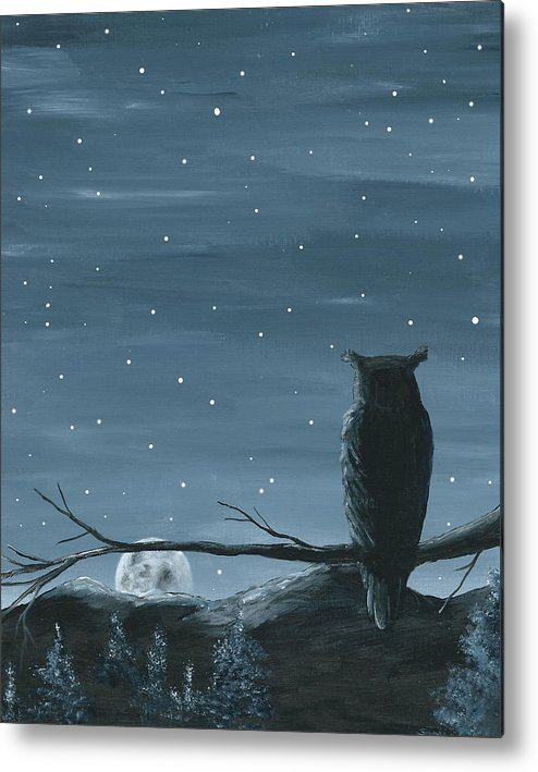 Owl Metal Print featuring the painting Owl And The Moon by Christine StPierre