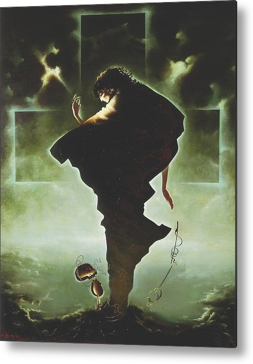 Figures Metal Print featuring the painting Paganini by Andrej Vystropov