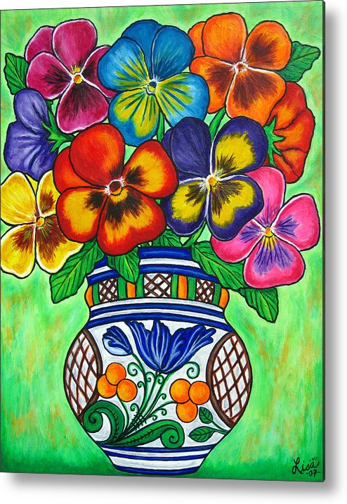 Flower Metal Print featuring the painting Pansy Parade by Lisa Lorenz