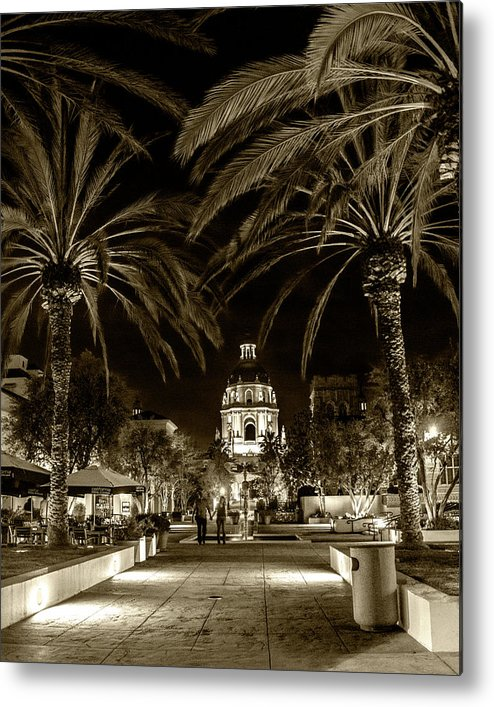 Pasadena Metal Print featuring the photograph Pasadena City Hall After Dark In Sepia Tone by Randall Nyhof