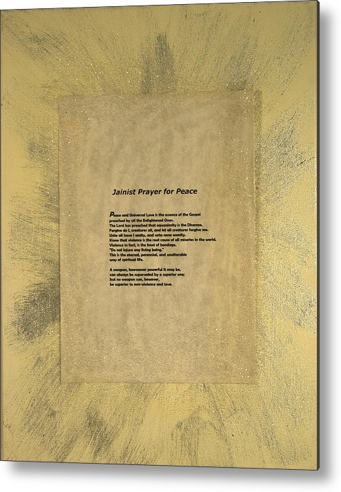 Peace Metal Print featuring the painting Peace Prayers - Jainist Prayer For Peace by Emerald GreenForest