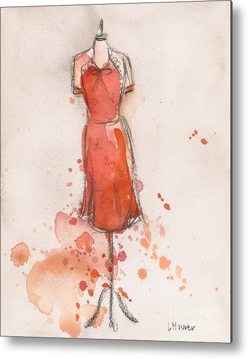 Orange Metal Print featuring the painting Peach And Orange Dress by Lauren Maurer