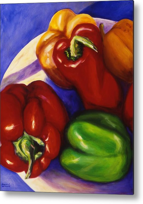 Still Life Peppers Metal Print featuring the painting Peppers In The Round by Shannon Grissom