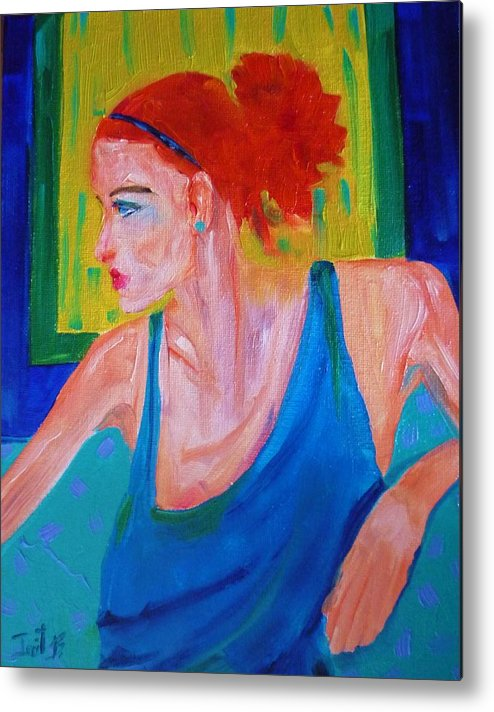 Figurative Metal Print featuring the painting Perfect Match by Irit Bourla