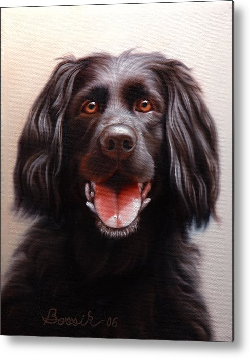 Black Labrador Metal Print featuring the painting Pet Portrait Of A Black Labrador by Eric Bossik