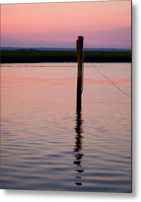 Pilon Sunset Beach Marsh Wildwood Shore Metal Print featuring the photograph Pilon In Sunset by William Haney