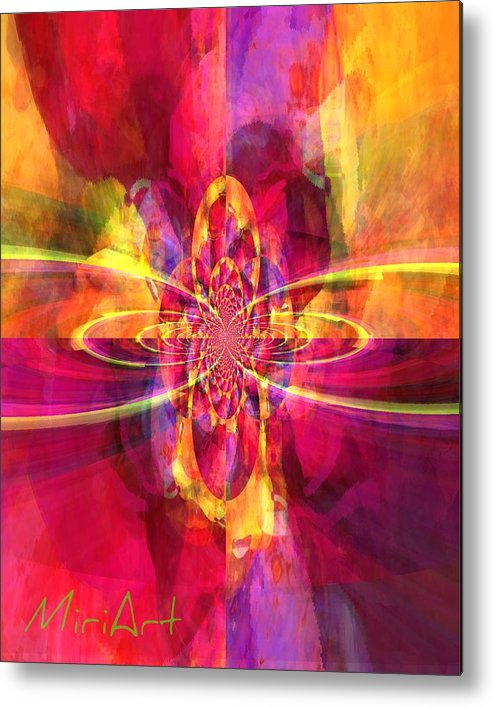 Abstract Metal Print featuring the photograph Pink Purple And Yellow by Miriam Shaw