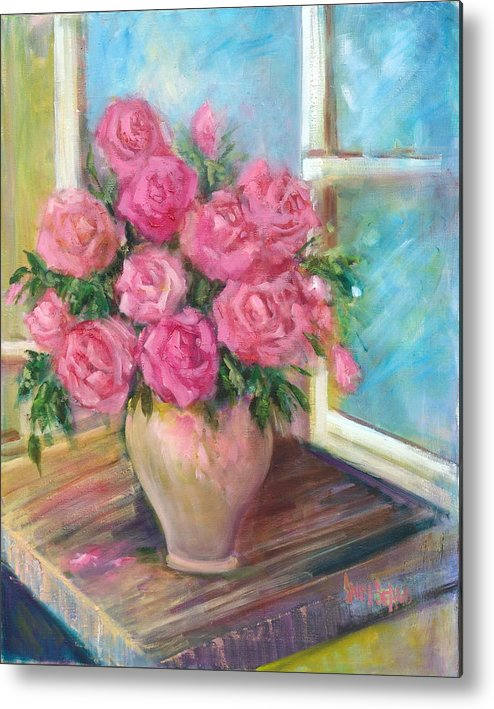Flowers Metal Print featuring the painting Pink Roses by Sally Seago
