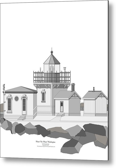 Lighthouse Metal Print featuring the painting Point No Point As Architectural Drawing by Anne Norskog