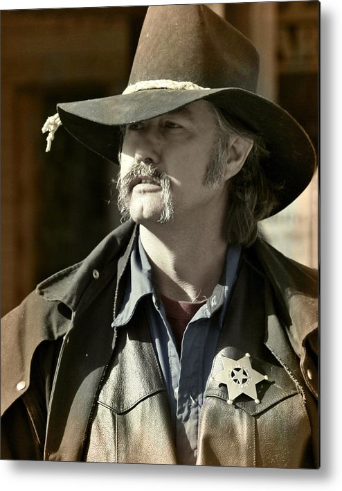 Portrait Metal Print featuring the photograph Portrait Of A Bygone Time Sheriff by Christine Till