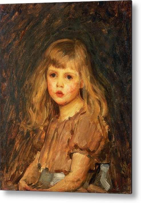 Girl Metal Print featuring the painting Portrait Of A Girl by John William Waterhouse