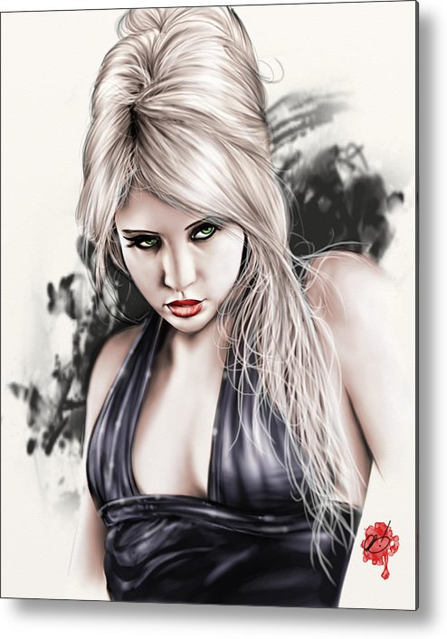 Pete Metal Print featuring the painting Portrait Of Miss Mosh by Pete Tapang