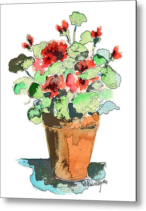 Plants Metal Print featuring the painting Potted Geraniums by Arline Wagner