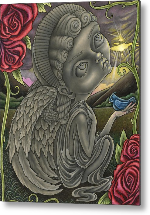 Angel Metal Print featuring the drawing Praying For A Miracle by Tanya Ross