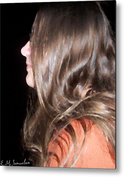 Woman Metal Print featuring the photograph Profile Of A Woman by Elise Samuelson