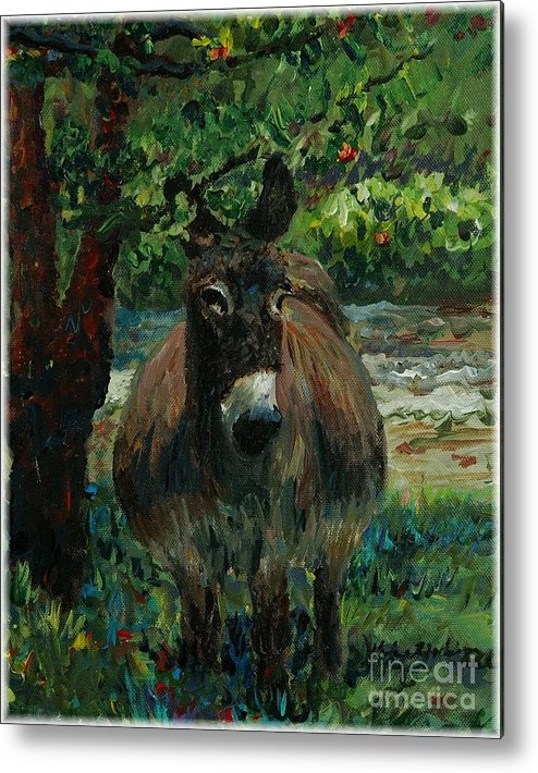 Donkey Metal Print featuring the painting Provence Donkey by Nadine Rippelmeyer