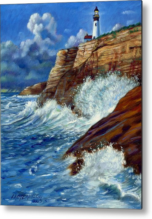 Lighthouse Metal Print featuring the painting Psalm Forty Three-three by John Lautermilch