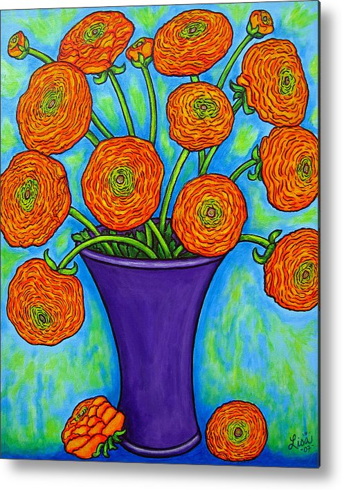Green Metal Print featuring the painting Radiant Ranunculus by Lisa Lorenz