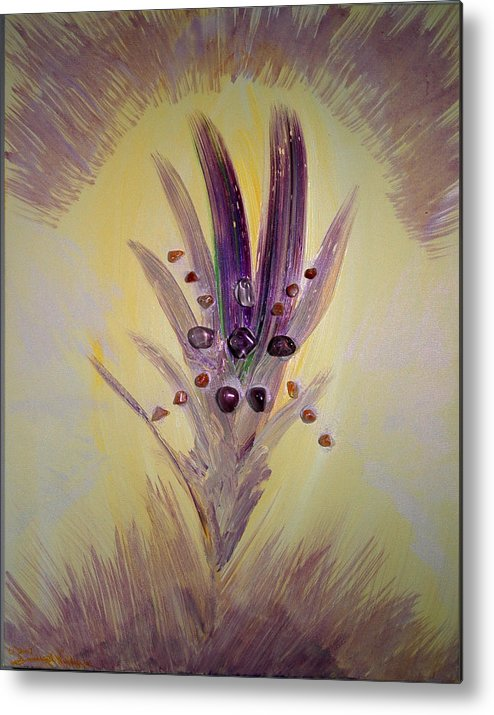 Abstract Metal Print featuring the mixed media Rai An An by Emerald GreenForest