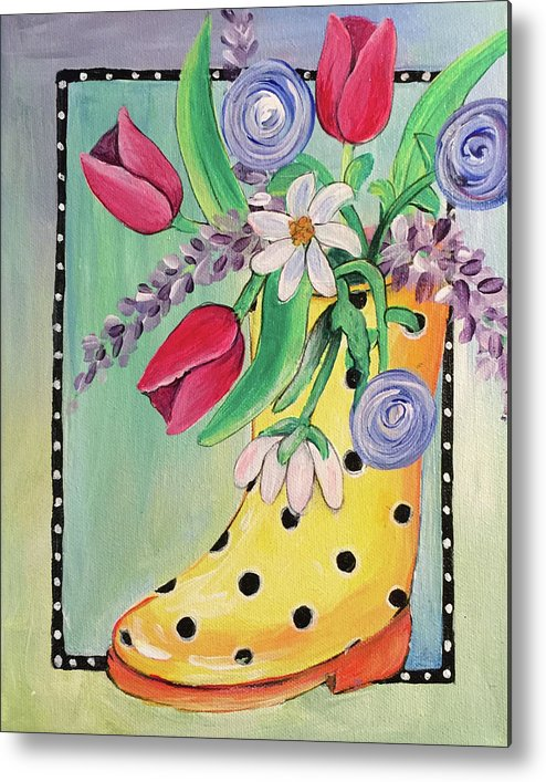 Acrylic Metal Print featuring the painting Rain Boots And Flowers by Noel Cole