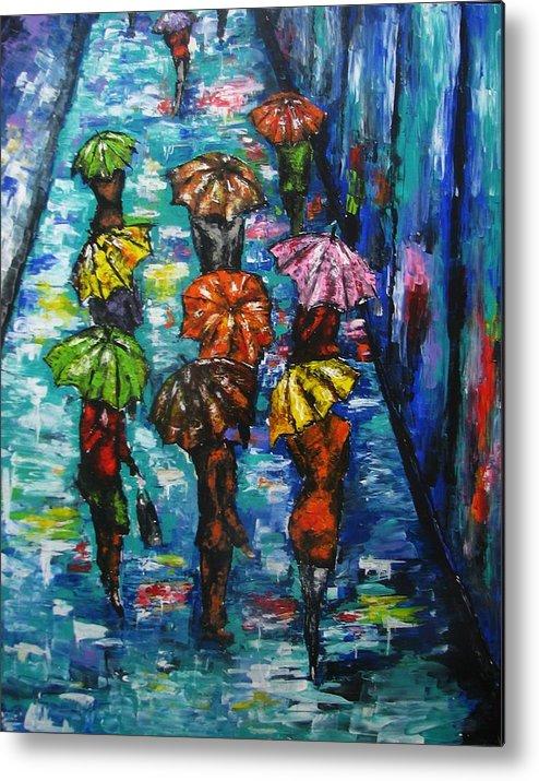 Rain Metal Print featuring the painting Rain Fantasy Acrylic Painting by Natalja Picugina