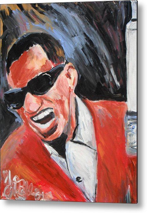 Soul Music Metal Print featuring the painting Ray Charles by Jon Baldwin Art