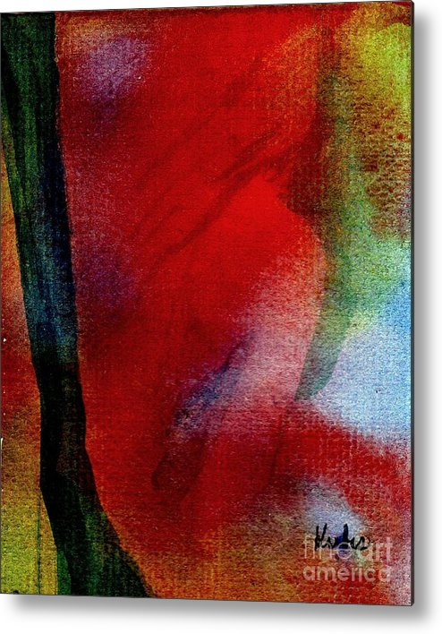 Nude Metal Print featuring the painting Red Boudoir by Susan Kubes