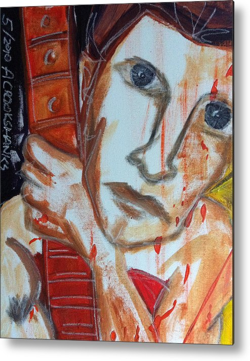 Man Metal Print featuring the painting Red Guitar by Alex Crookshanks