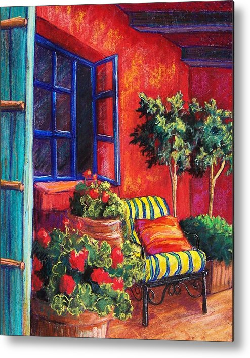 Patio Metal Print featuring the pastel Red Patio by Candy Mayer