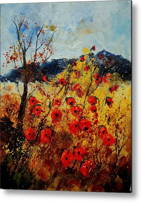 Poppies Metal Print featuring the painting Red Poppies In Provence by Pol Ledent