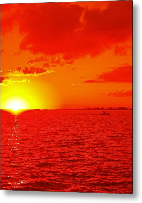 Abstract Metal Print featuring the photograph Red Sea Boating by Florene Welebny