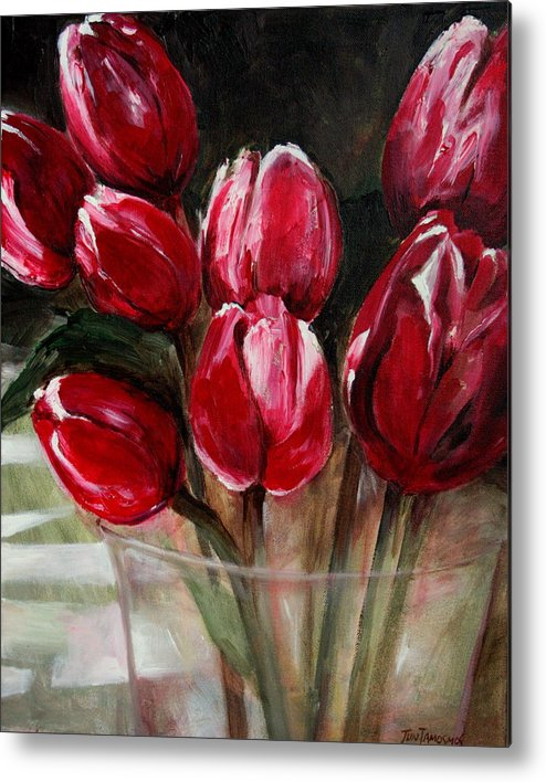 Tulips Metal Print featuring the painting Red Tulips by Jun Jamosmos