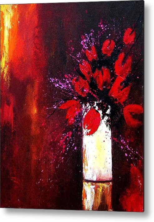 Flowers Metal Print featuring the painting Red Tulips by Pol Ledent