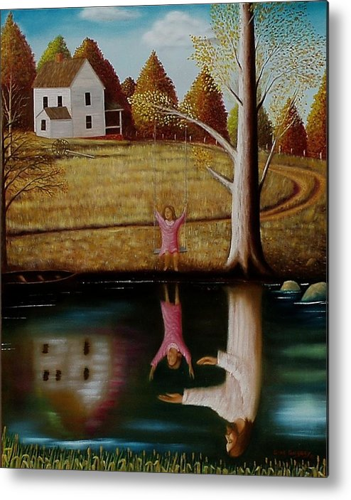Original Sold Metal Print featuring the painting Reflection Of Protection. by Gene Gregory