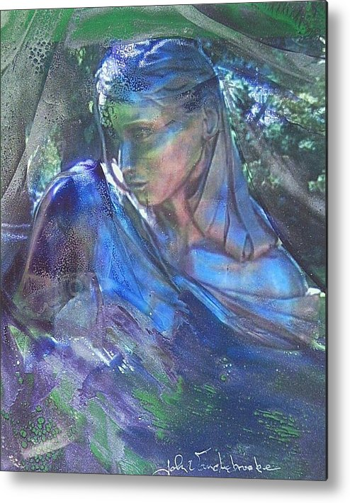 Womans Face Metal Print featuring the mixed media Remembering by John Vandebrooke