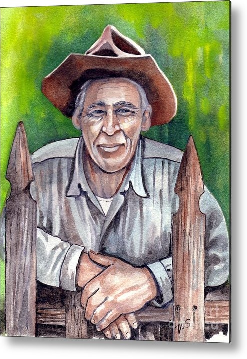 Farmer Metal Print featuring the painting Remembering by Val Stokes