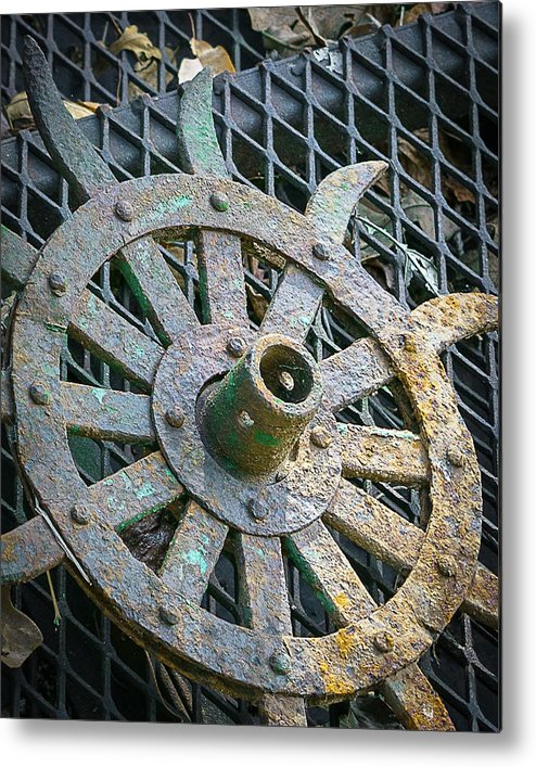 Plow Wheel Metal Print featuring the photograph Retired Plow Wheel by My Angle On It Photography