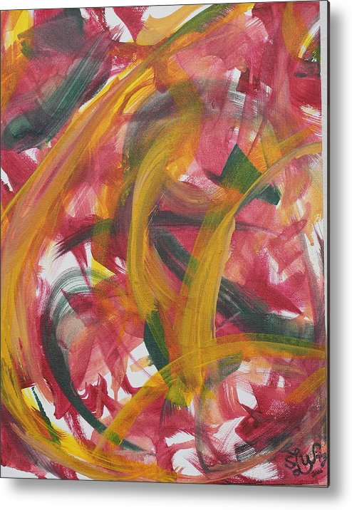 Abstract. Primary Colors Metal Print featuring the painting Ribbon Candy by Sandra Winiasz