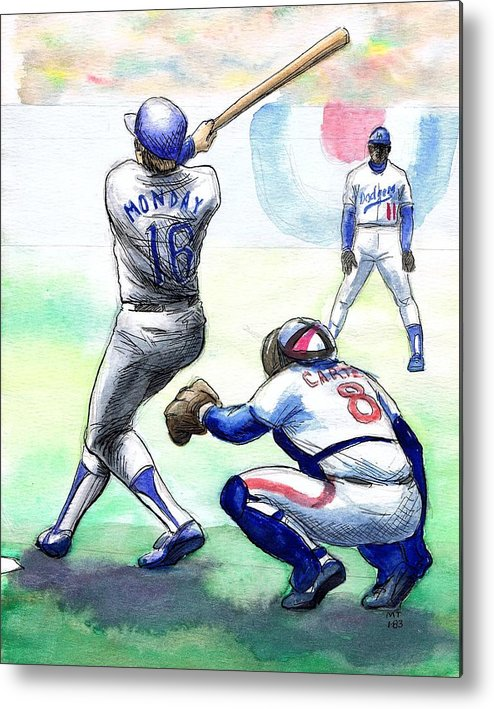 Nostalgia Metal Print featuring the drawing Rick Monday by Mel Thompson
