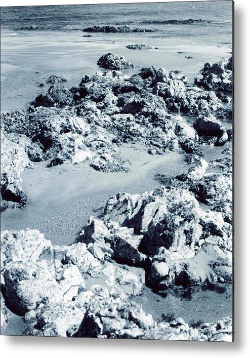 Ocean Metal Print featuring the photograph Rocks At Shoreline by Jennifer Ott