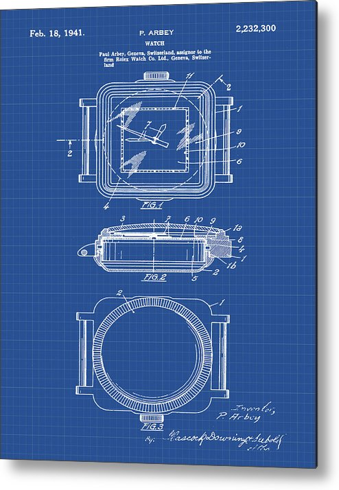 Rolex watch patent 1941 in blueprint metal print by bill cannon rolex metal print featuring the digital art rolex watch patent 1941 in blueprint by bill cannon malvernweather Images