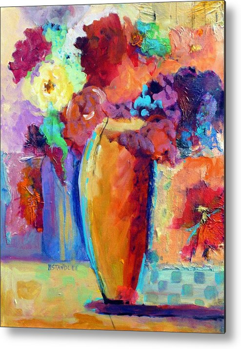 Still Life Metal Print featuring the painting Rose Bouquet by Nancy Standlee